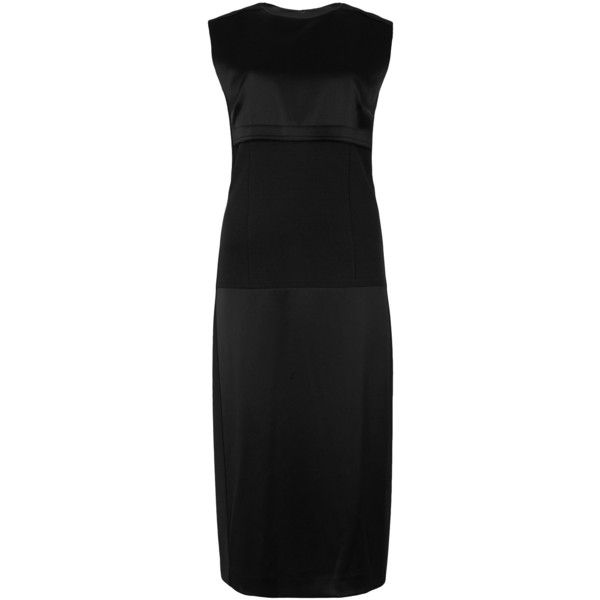 DKNY Black jersey-panelled satin dress (£365) ❤ liked on Polyvore featuring dresses, jersey cocktail dress, panel dress, jersey dress, satin dress and dkny