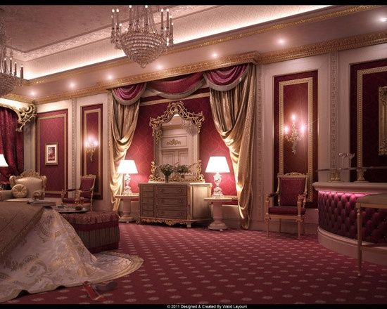 Burgundy Bedroom Designs Decorated In Gold And Burgundy