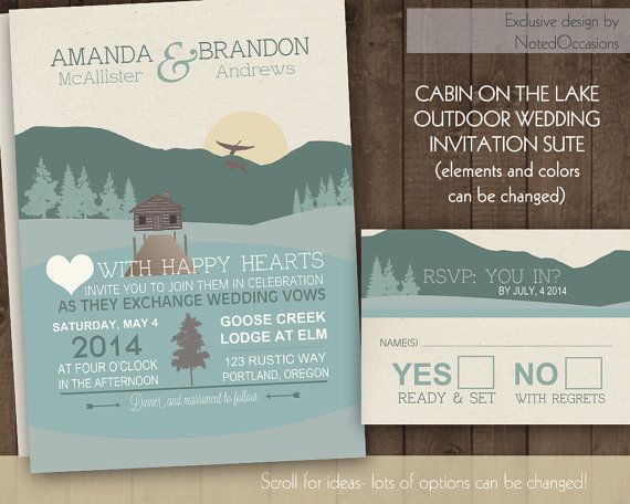 Mountain Wedding Invitation Suite   Outdoor Wedding Log Cabin On A Lake  With A Pier By
