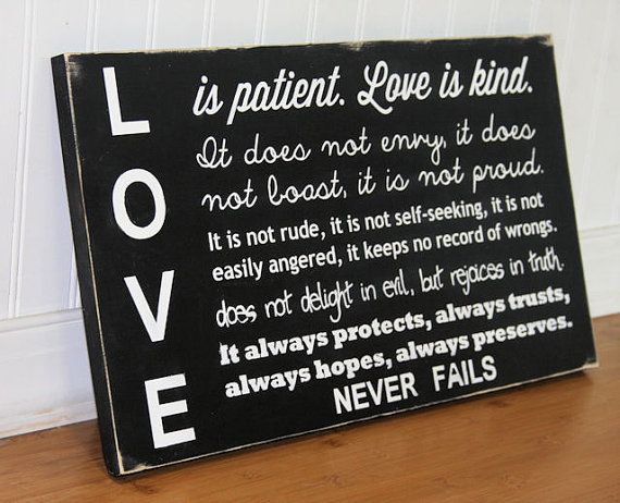 Love is patient Love is kind Hand Painted Wood by MrAndMrsAndCo, $45.00