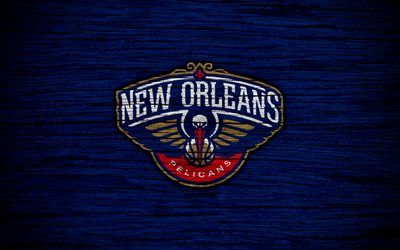 4k, New Orleans Pelicans, NBA, wooden texture, basketball, Western Conference, USA, emblem, basketball club, New Orleans Pelicans logo