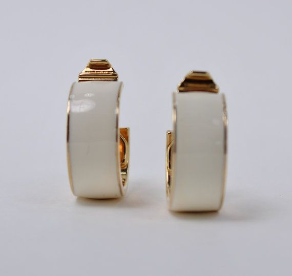 Vintage Signed Monet Goldtone Ivory Off White Enamel Hoop Earrings By Thepaisleyunicorn 4 00