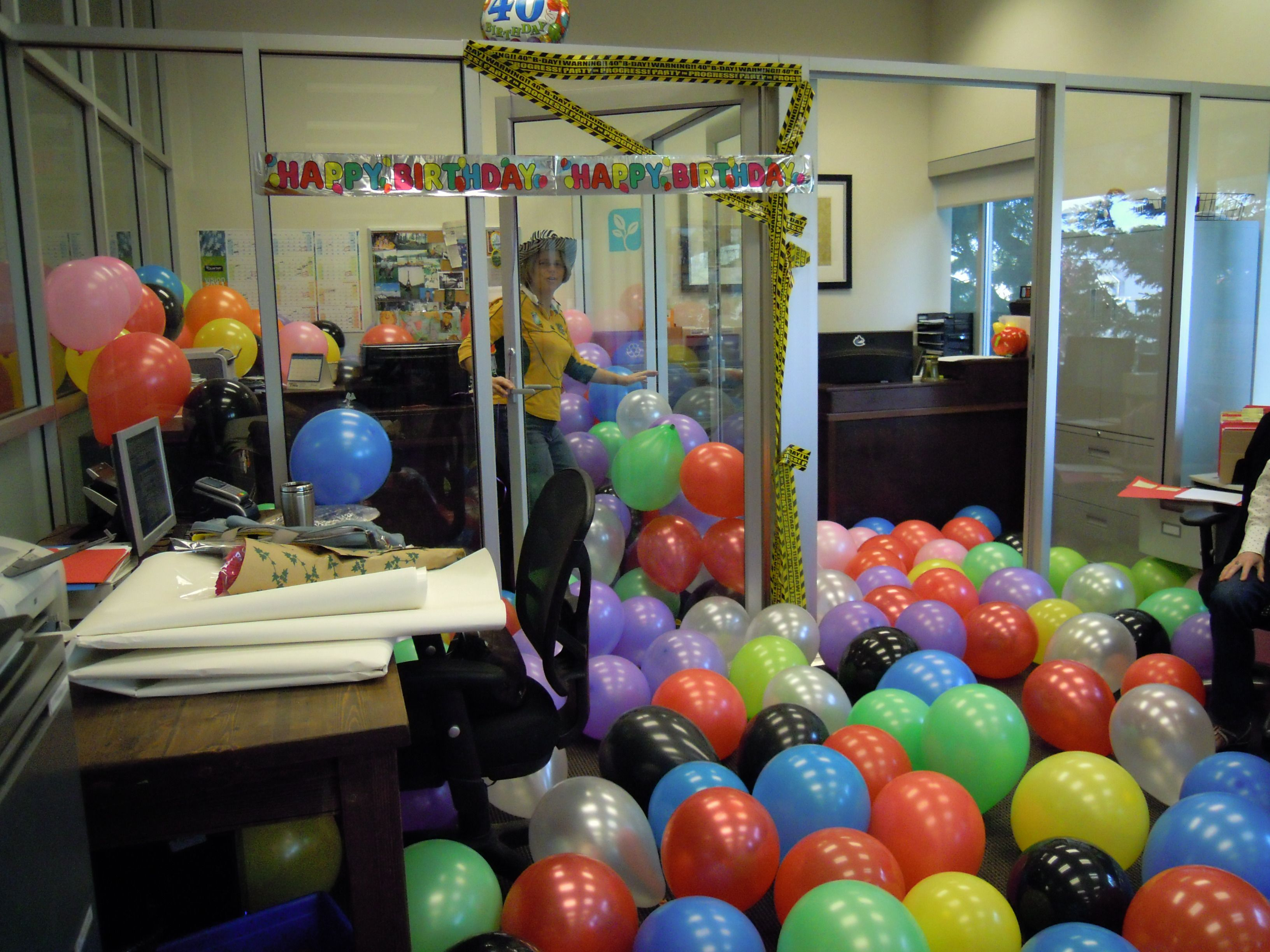 office fun ideas. Birthday Balloon Office Surprise. #balloons #officefun #birthdaysurprise Fun Ideas
