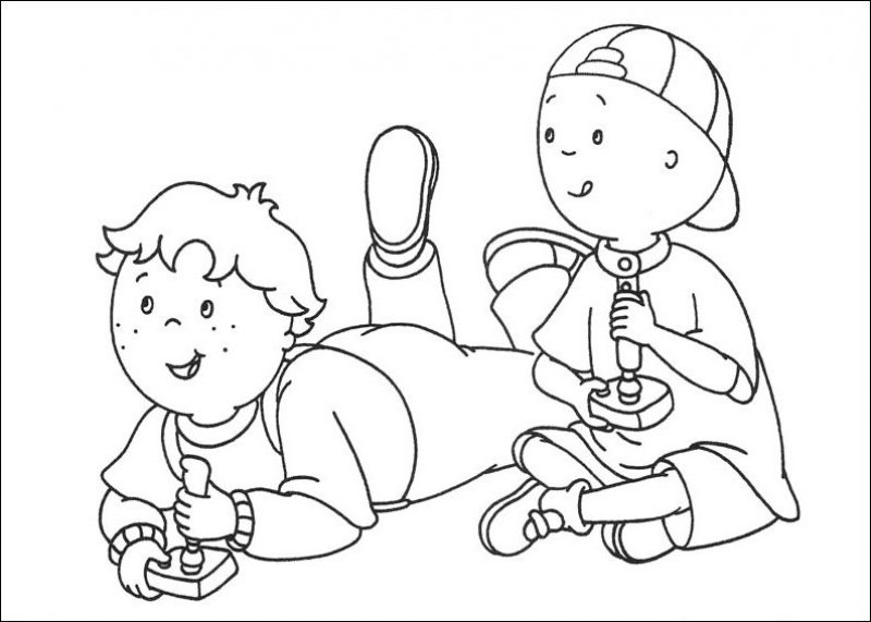 Caillou playing video game coloring pages Fun Coloring Pages