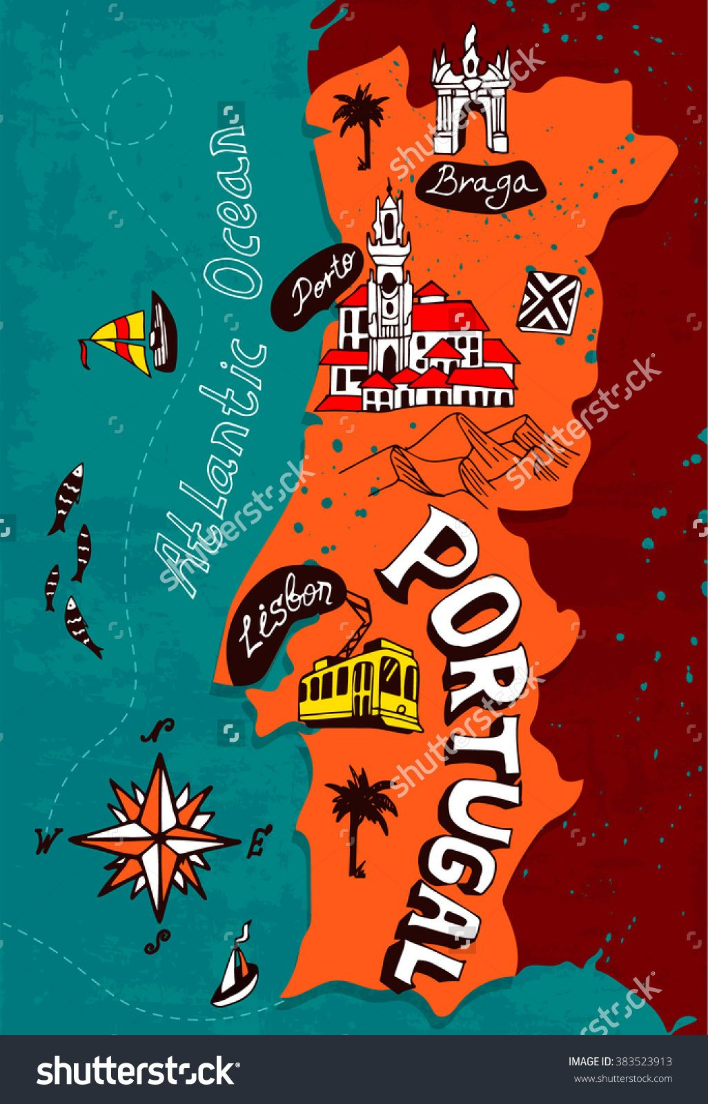 Illustrated Map Of Portugal Travel Pinterest Illustrated - Map of portugal