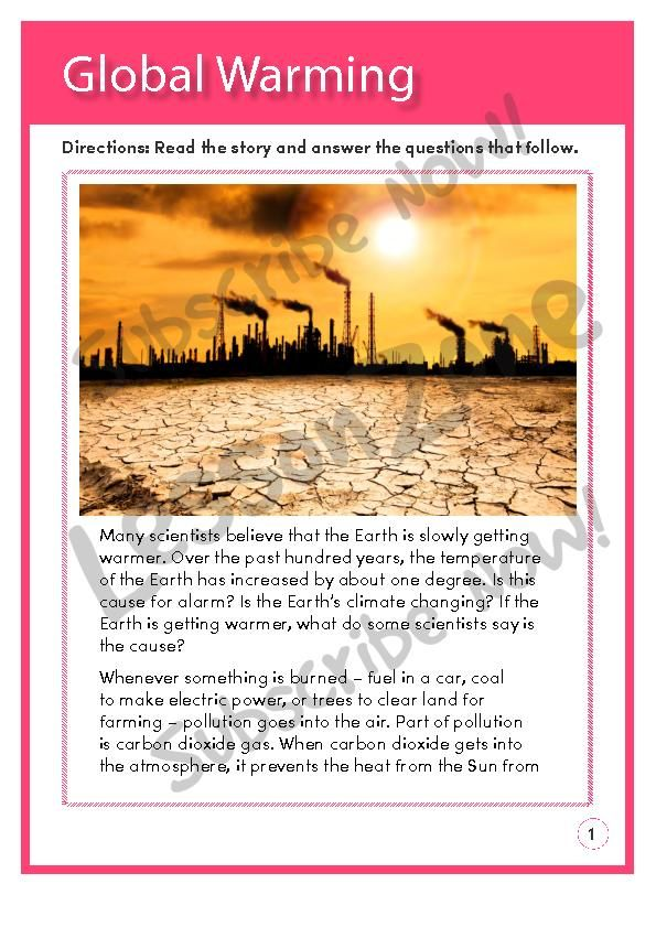 This Reading Comprehension Activity Global Warming Asks Students