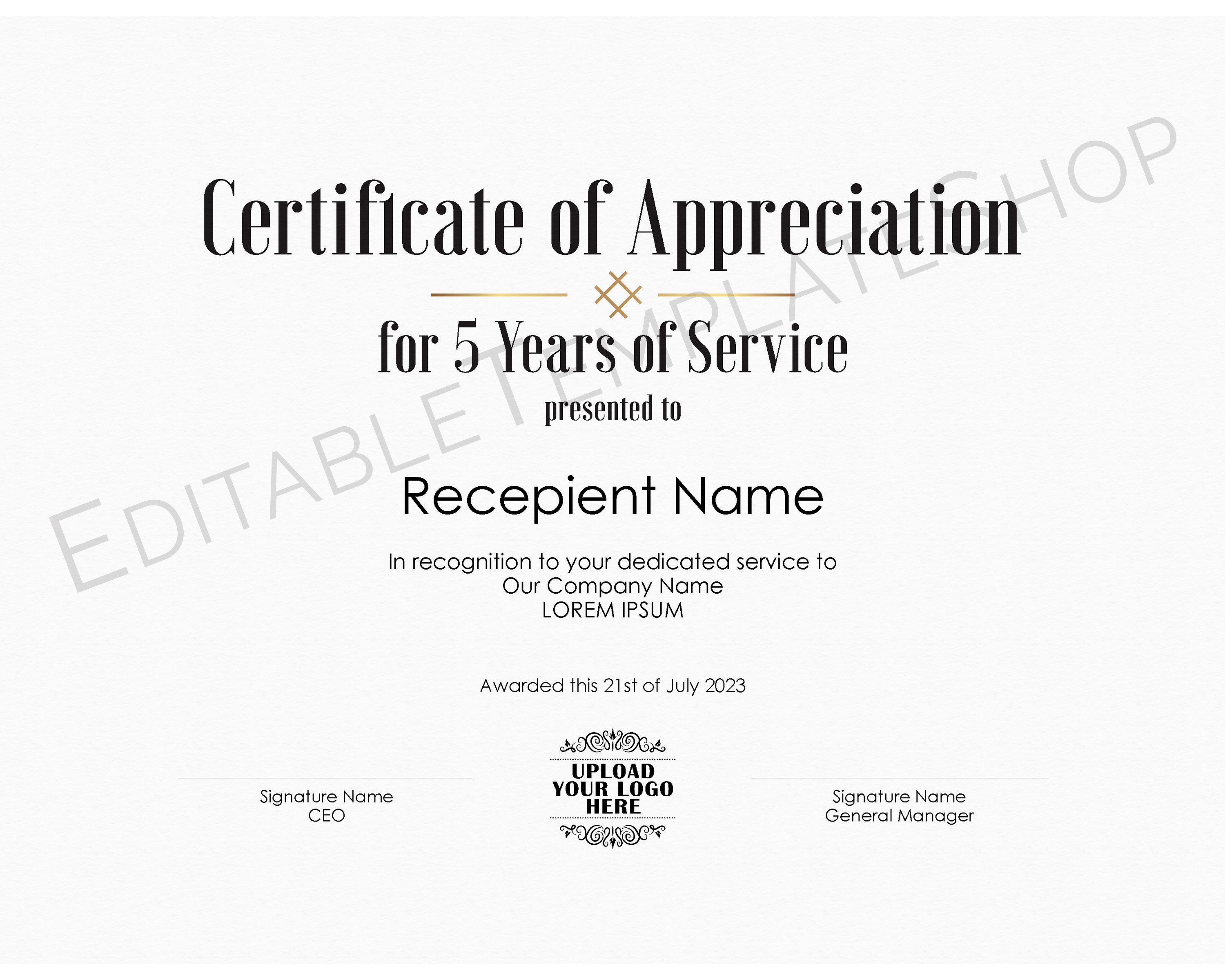 Editable Years Of Service Certificate Of Appreciation Etsy Editable Certificates Employee Awards Certificate Of Appreciation Certificates for years of service