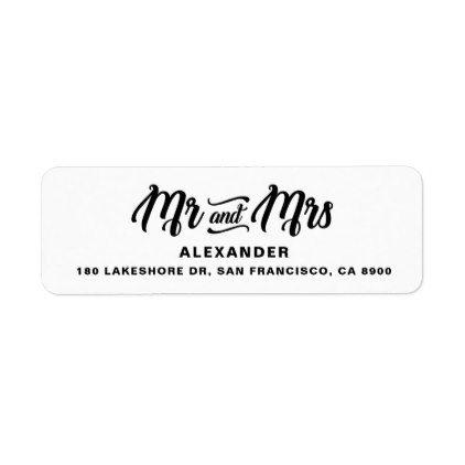 Black Retro Script Personalized Mr. and Mrs. Stamp Label - retro gifts style cyo diy special idea