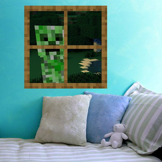 Creeper at the window vinyl wall decal by wilsongraphics for Awesome minecraft vinyl wall decals