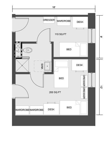 University Housing Virtual Tour Honors Residence Dorm Layout Dorm Room Layouts University Of South Carolina