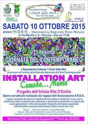"""Pescara, sabato 10 ottobre """"Installation Art - Comoda....Mente"""". L'evento è organizzato dall'Associazione I Colori della Vita nell'ambito della Giornata Nazionale dell'Arte Contemporanea"""