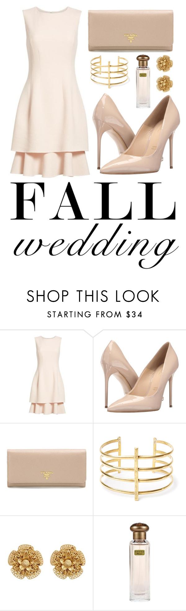 """Fall Wedding"" by hollyskinner01 ❤ liked on Polyvore featuring Oscar de la Renta, Massimo Matteo, Prada, BauXo and Miriam Haskell"