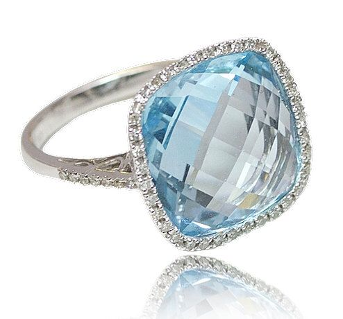 CHRISTMAS SALE Blue Topaz Diamond Ring in 14KW Pave Ring