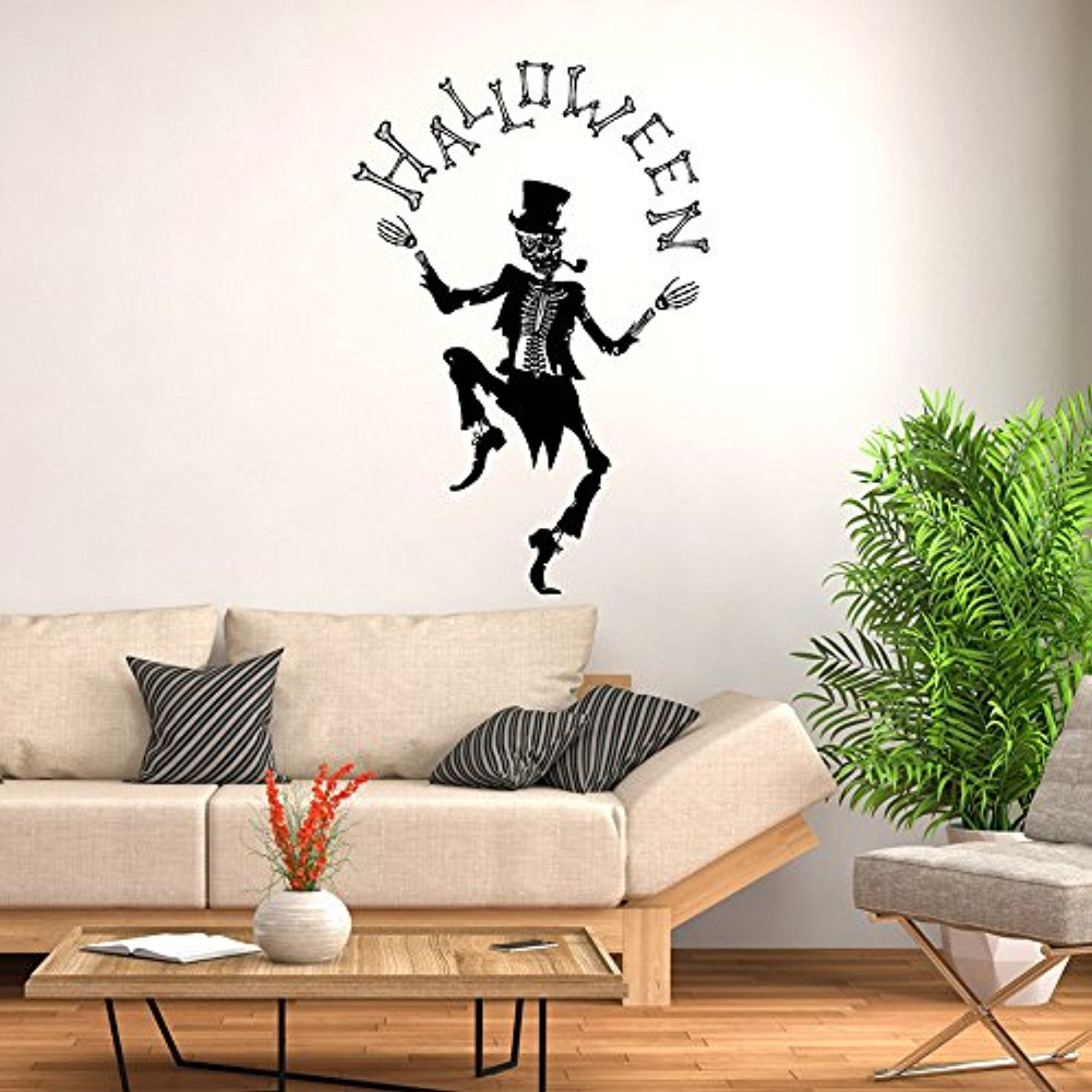 ML_Victor Happy Halloween Witch Skull Wall Decals Window Stickers - Kids Halloween Decorations
