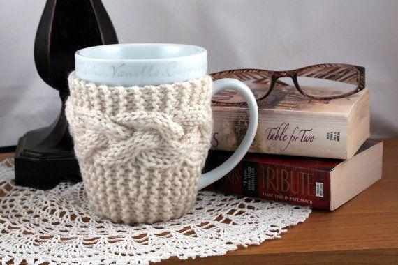 Aran Hand Knit Coffee Mug Cozy Coaster By Travistreasurebox Knit Coaster Mug Cozy Knitting