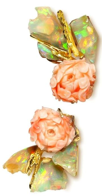 """""""Bagatelle"""" (""""Trifle"""") Earrings. Yellow gold, opal and angel skin coral. THIERRY VENDOME"""