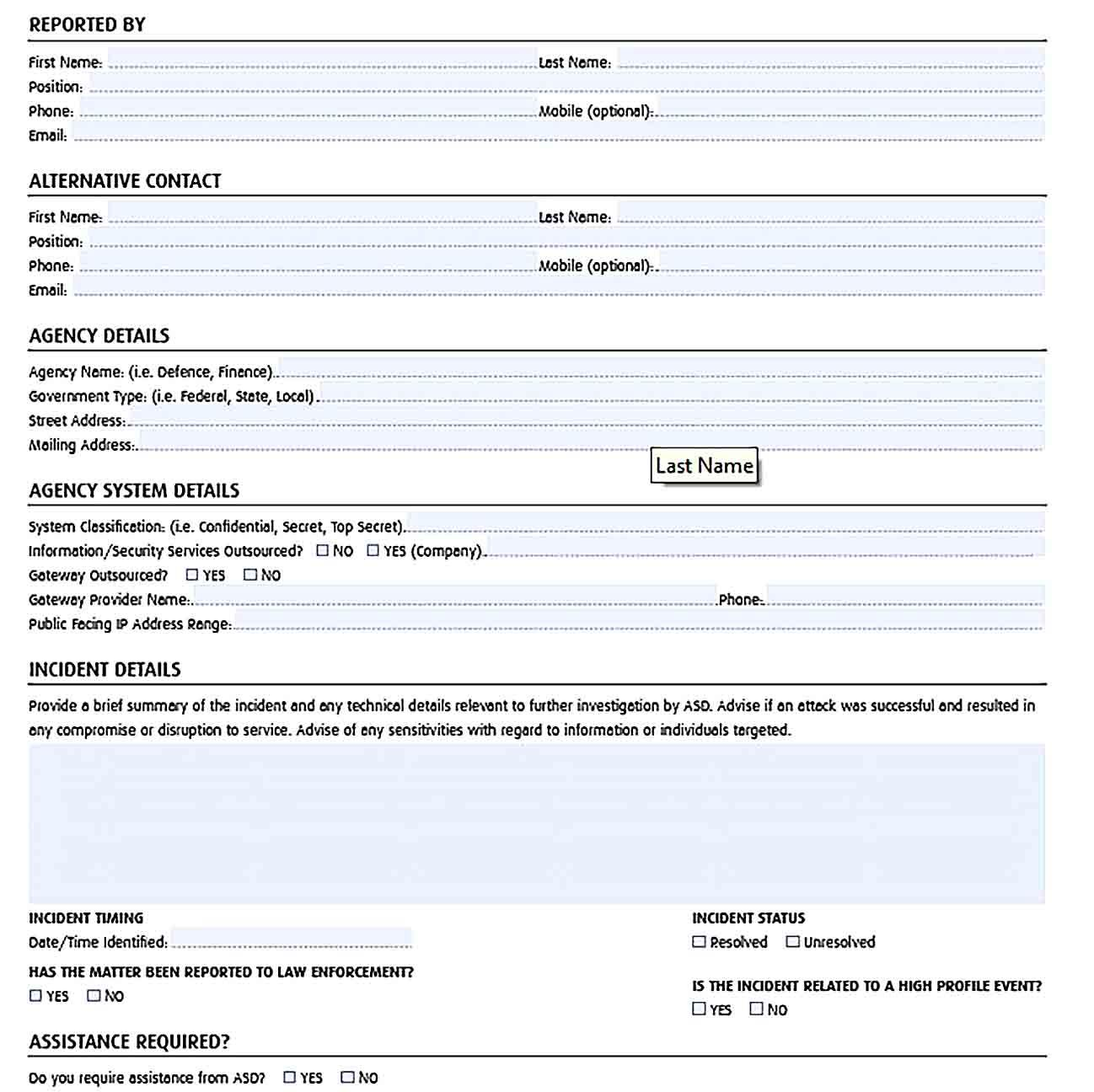 Free Incident Report Template Incident Report Report Template Templates