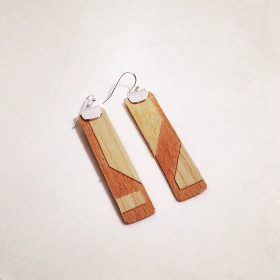 Beautiful handmade wooden earrings. Nickel and lead free earring hooks. They are sent by certified mail in a pretty gift wrap.  Due to the different