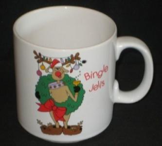 Coffee Mug  Cup Christmas Holiday Drunk  Bingle Jells  by Russ Berrie   359 Reindeer  Wreath