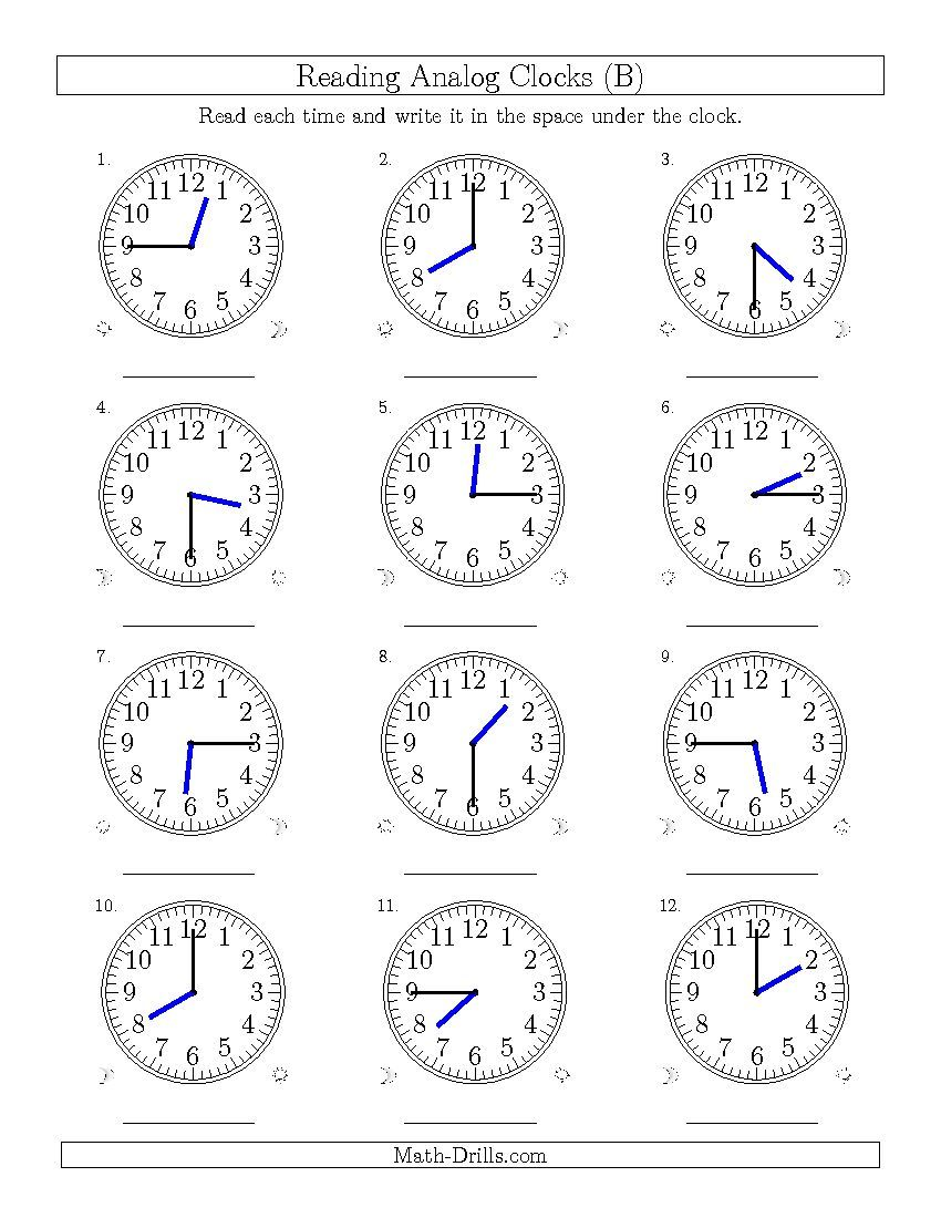 Reading Time On 12 Hour Analog Clocks In 15 Minute Intervals B Time Worksheet Time Worksheets Clock Worksheets Telling Time Worksheets
