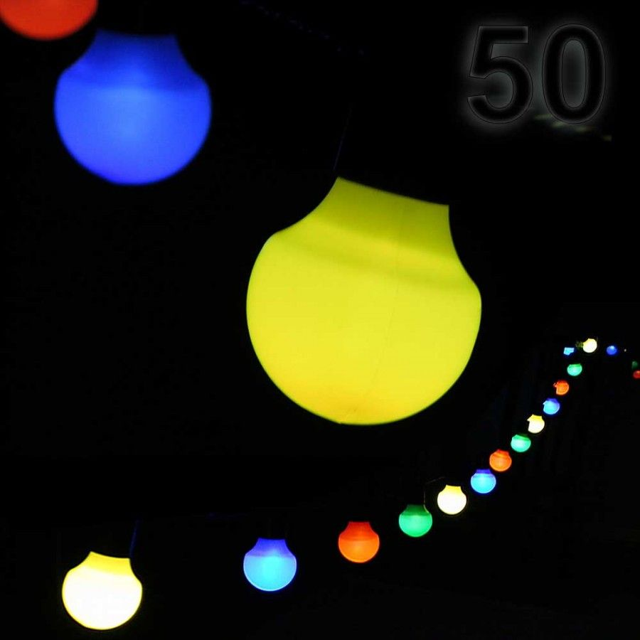 Led Party Lichterkette 12 5 M Mit 50 Kugel Laternen Aussen Party Lichterkette Lichterkette Partybeleuchtung
