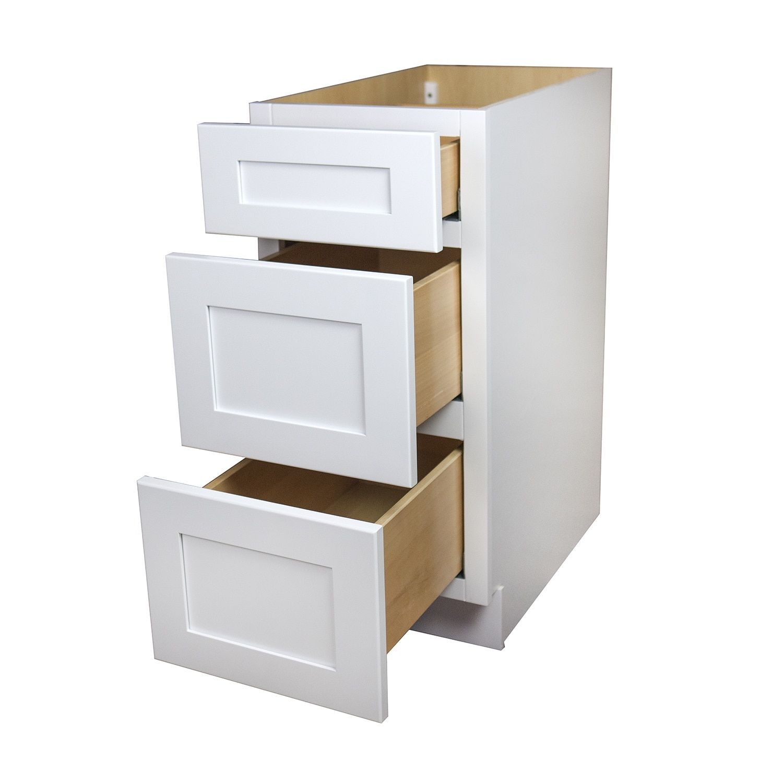 Best White Shaker 3 Drawer Kitchen Base Cabinet 21 3 Drawer 640 x 480