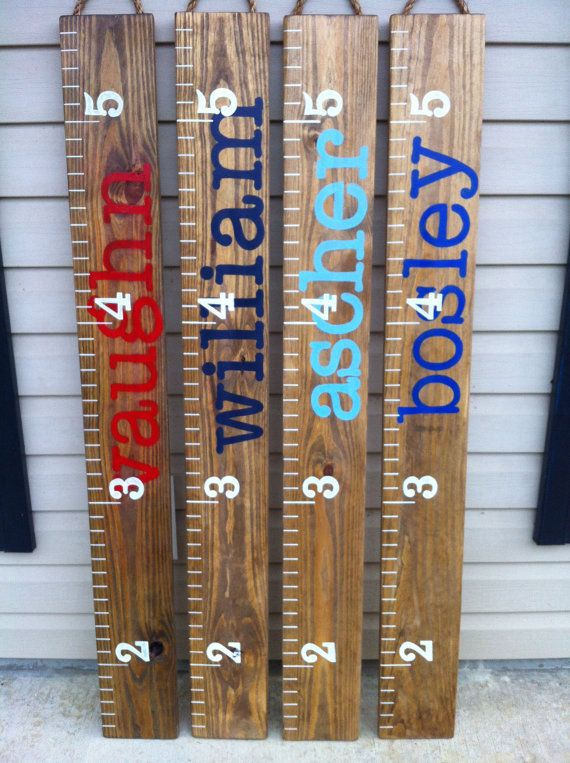 Painted Ruler Growth Chart / Wood Growth Chart / Baby ...