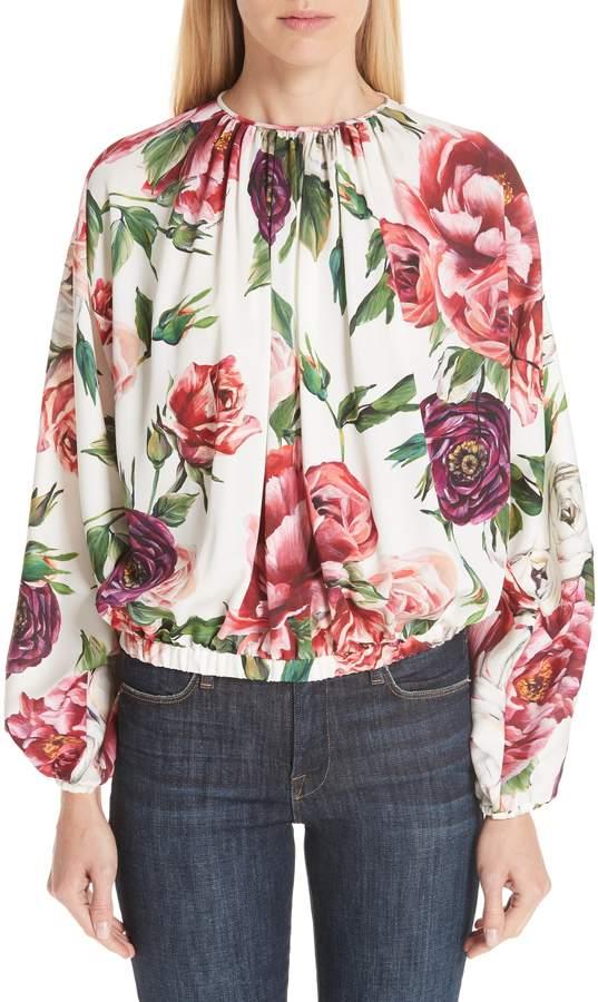 b268dab9088cc2 Dolce & Gabbana Peony Print Gathered Stretch Silk Blouse Peony Print, Floral  Tops, Peonies