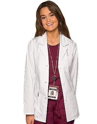 81b9f08680b7c A classic missy fit Dickies 28-inch short lab coat in a notched lapel  collar, three-button front closure and long set-in sleeves.