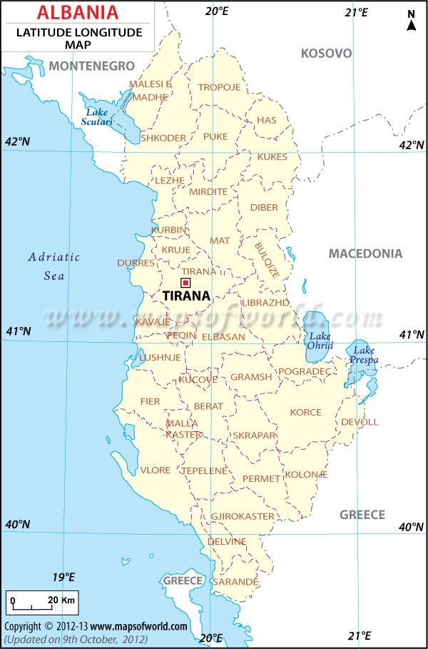 Albania Latitude and Longitude Map my work Pinterest Albania