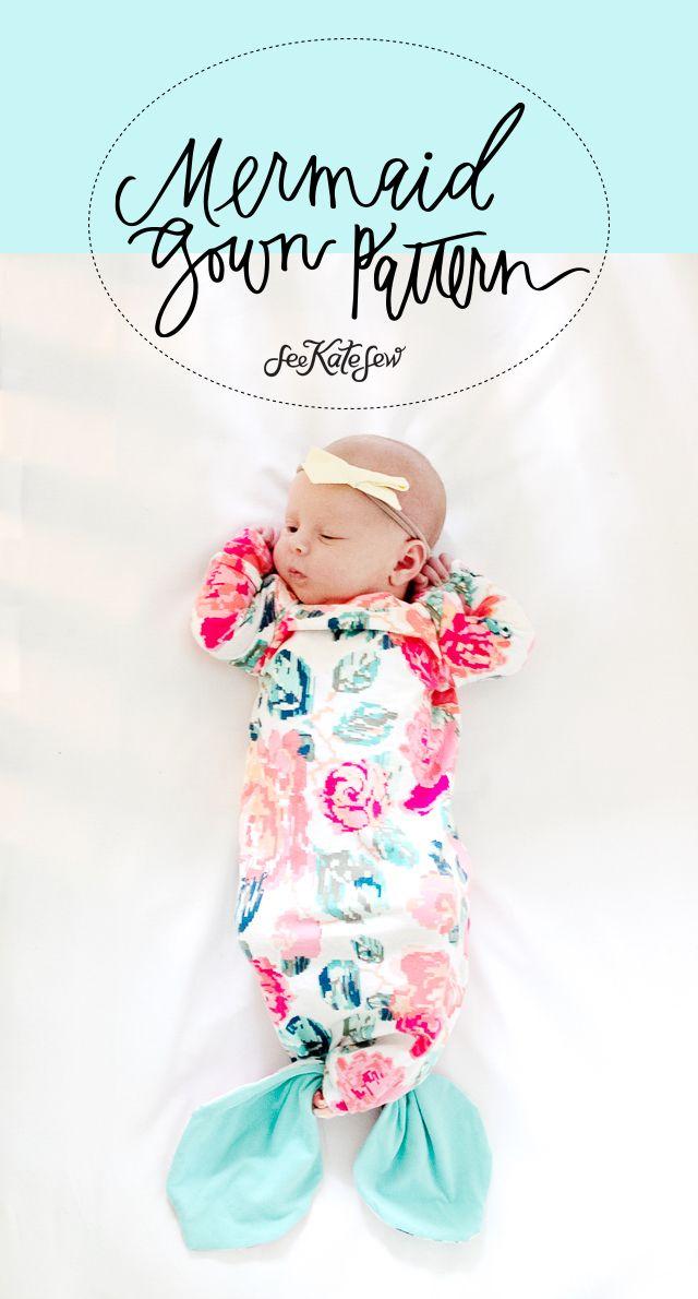 Mermaid Baby Gown Tutorial + Owlet Smart Sock Review | see kate sew ...