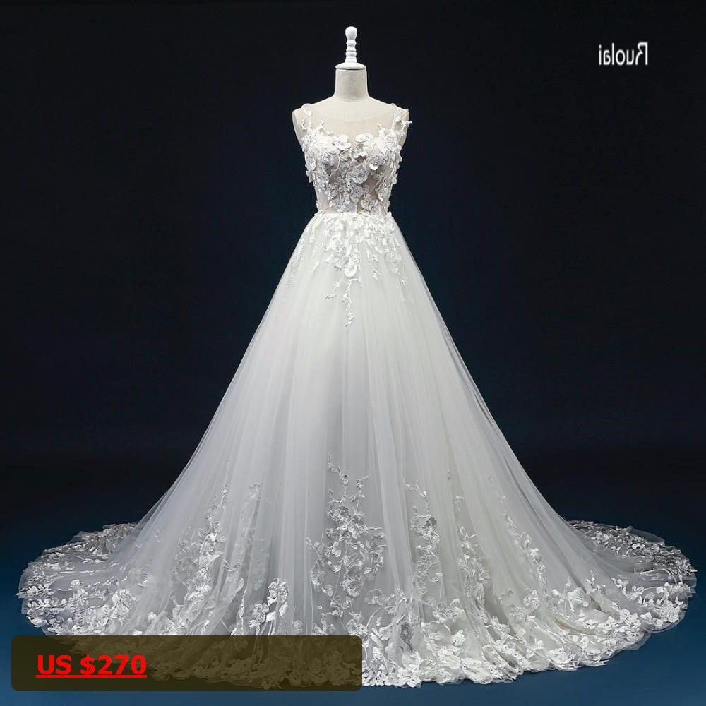 A line tulle wedding dress   New Arrival Aline Tulle Wedding Dresses Scoop Lace Appliques