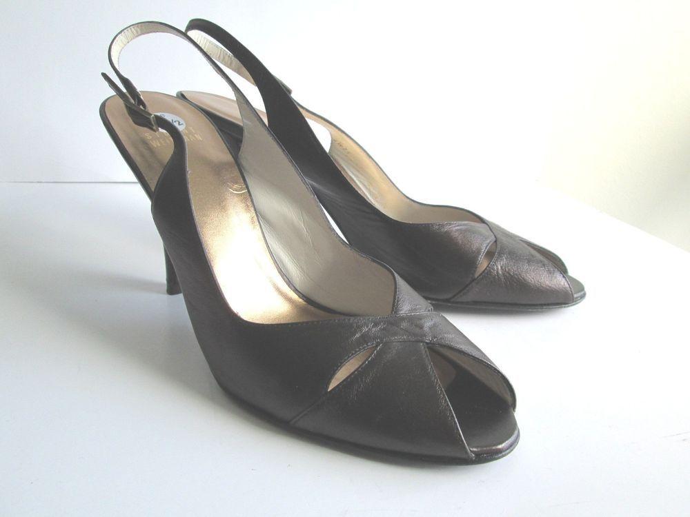 Stuart Weitzman Bronze Metallic Peeptoe Slingback Heels Shoes 9.5 N Narrow #StuartWeitzman #Slingbacks