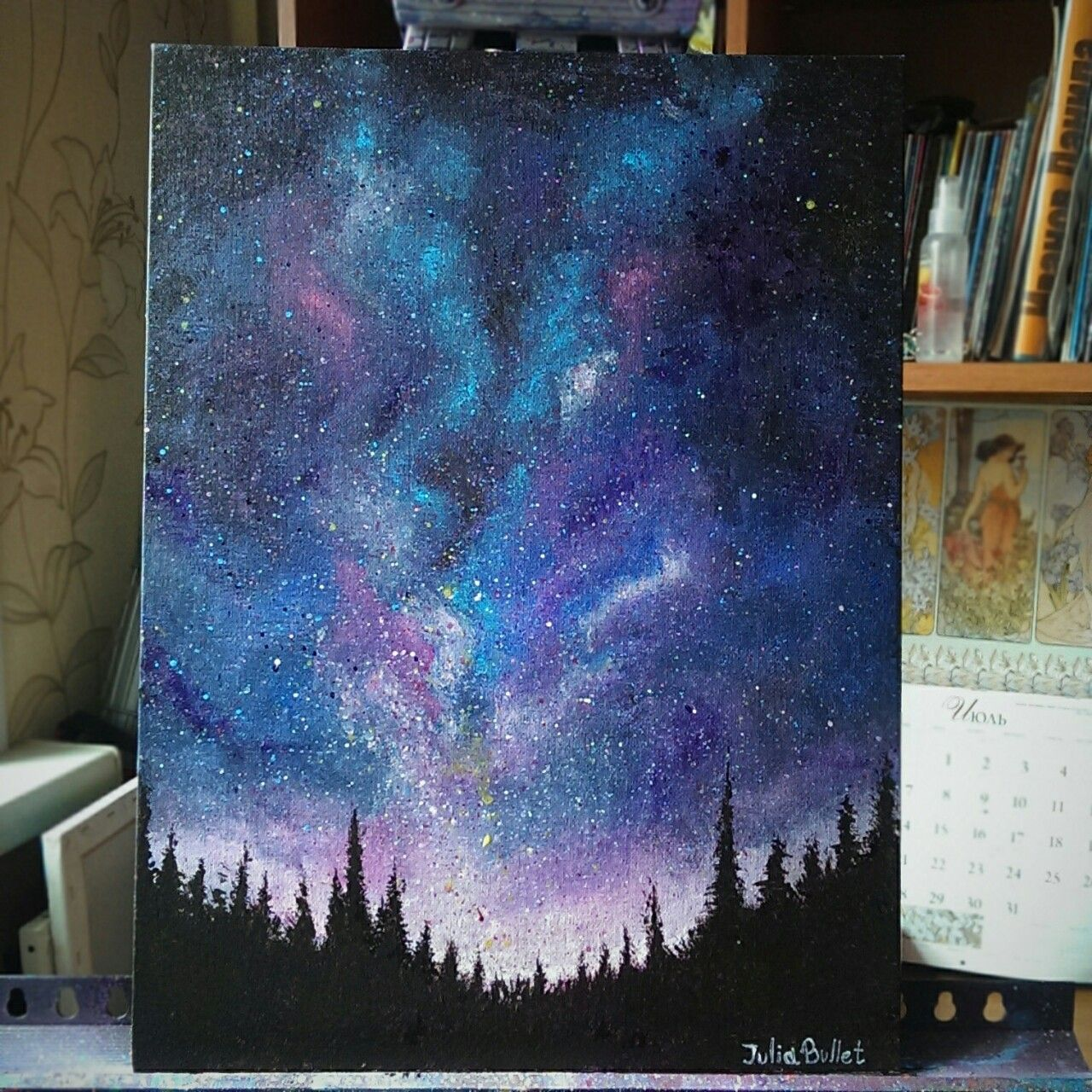 Juliabulletblog galaxy sky acrylic painting i for How to acrylic paint