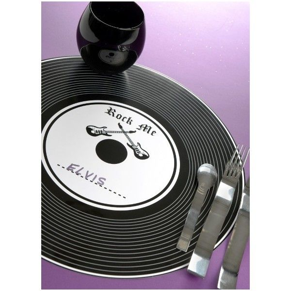 sets de table disque vinyle noir rock'n roll 34 cm les 6 | set de