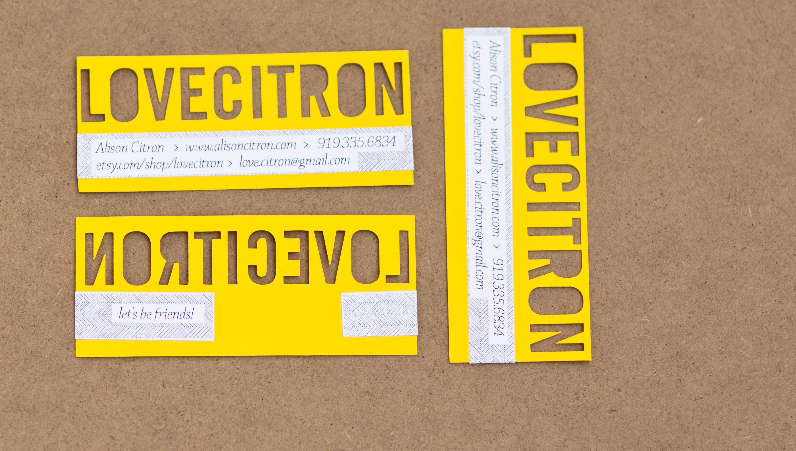 yellow cut business cards