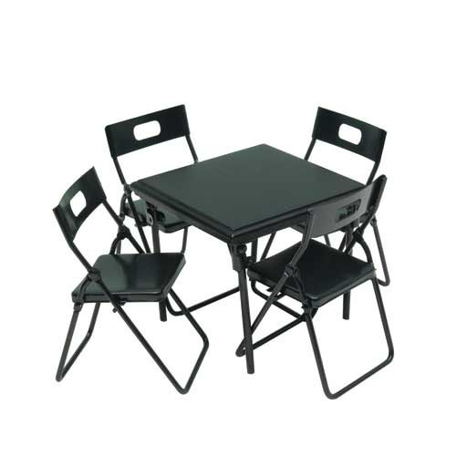 Five Piece Black Metal Folding Table Chairs Set Metal Folding Chairs Metal Folding Table Black Metal Chairs