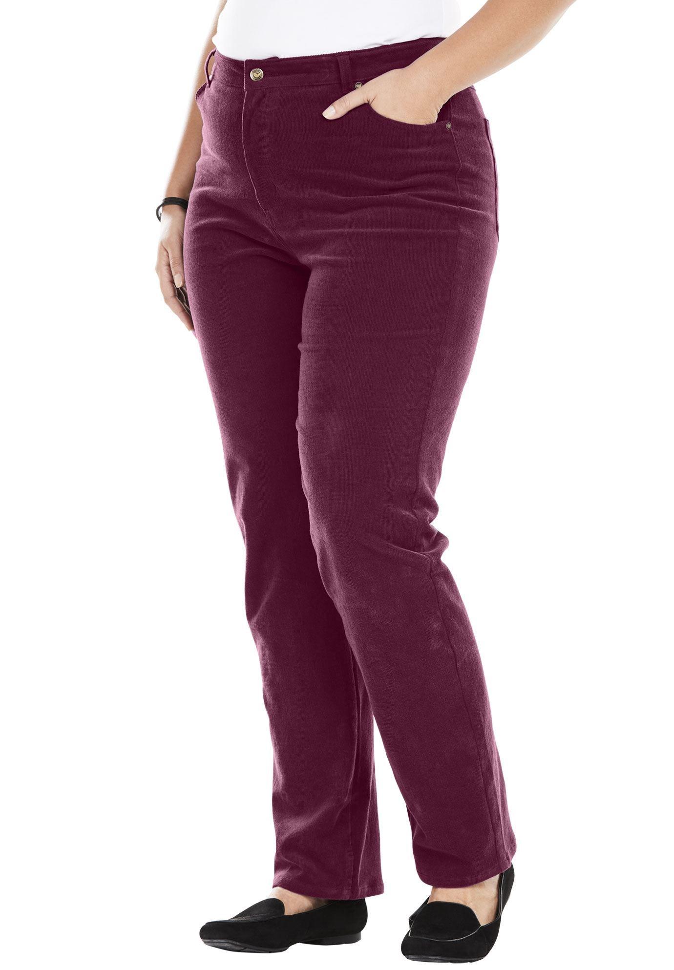 Woman Within Womens Plus Size Comfort Waist Straight Leg Corduroy Pant