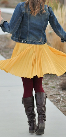 cute #yellow pleated chiffon midi skirt http://rstyle.me/n/inhtrr9te