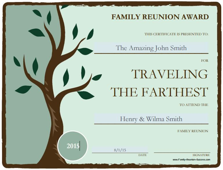 Use These Free Printable Awards For Fun Family Reunion Activities Award Certificates Can Be Personalized