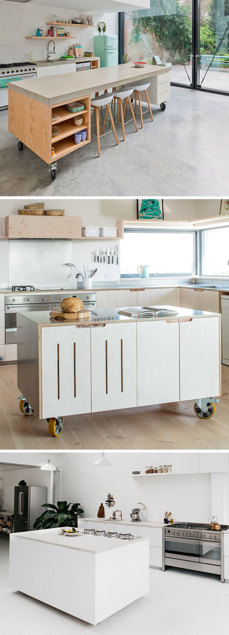8 Examples Of Kitchens With Movable Islands That Make It Easy To Change The Layout Small Modern Kitchens Mobile Kitchen Island Modern Kitchen Island