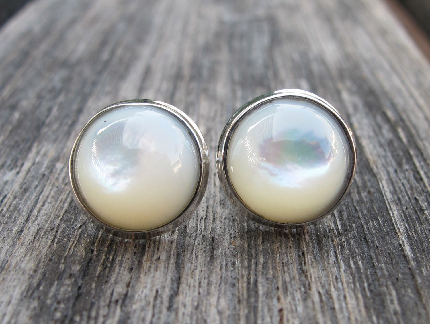 85d75a029 Mother of Pearl Earring- Bridal Pearl Stud Earring- Round White Stud- Round  Sterling