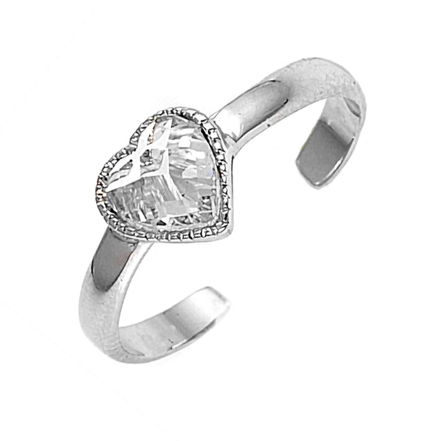 Shine Jewel Amazing Looking Cubic Zirconia 92.5 Sterling Silver Flexible Toe Ring For Girl