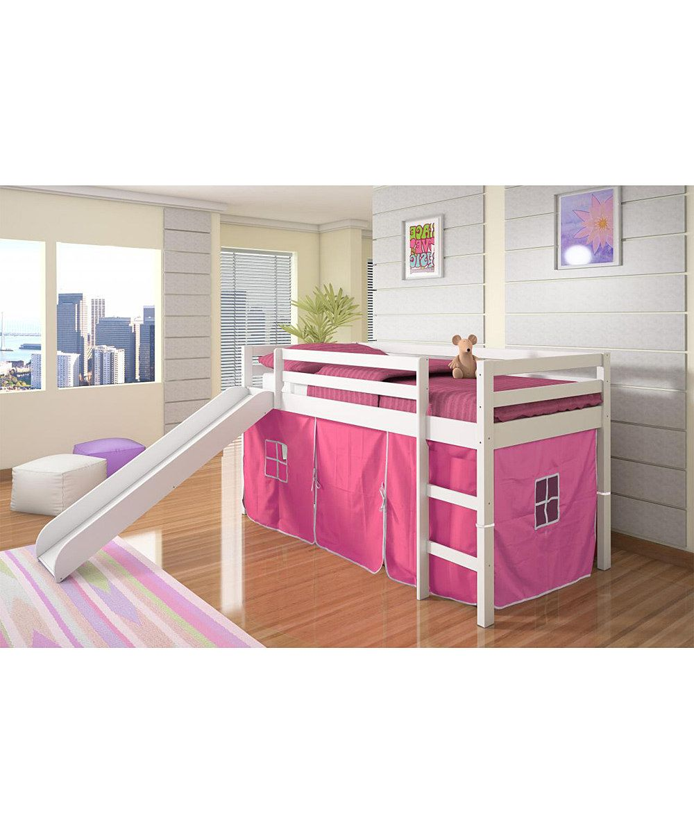 Twin low loft bed with slide  Donco Kids Pink u White Twin Tent Loft Bed u Slide  other