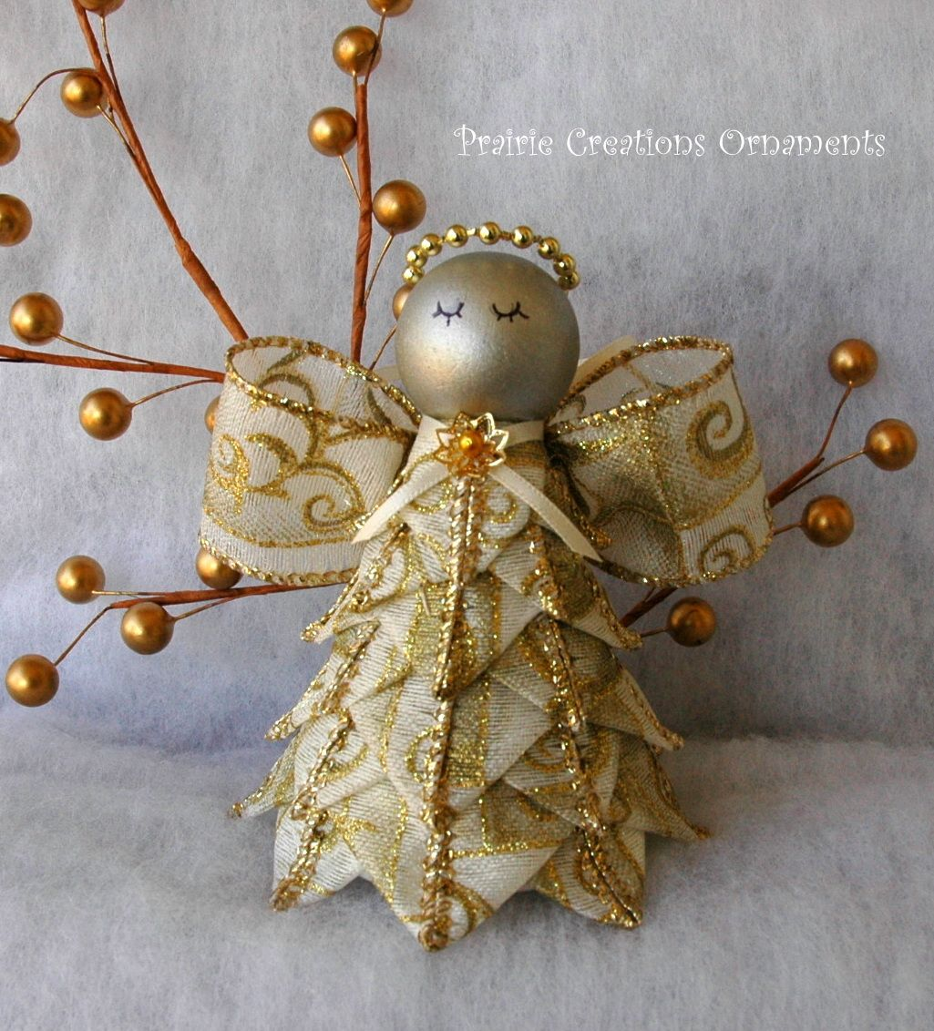 Angel Quilted Ribbon Ornament Prairie Creations Ornaments Quilted Christmas Ornaments Christmas Ornaments Fabric Ornaments
