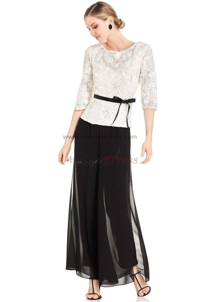 e151d8b3a554 Elegant three quarter sleeve Black mother of the bride pant suits with lace  jacket nmo-019