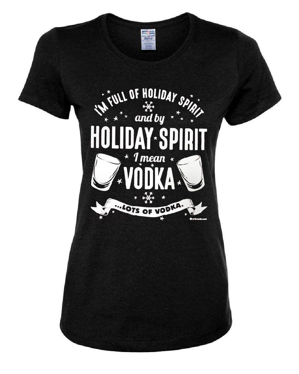 Full of Holiday Spirit Long Sleeve Tee Funny Drinking Christmas Xmas