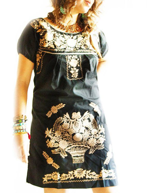 0686e4da1b23 el dorado black Mexican embroidered dress by aidacoronado. makes me smile.