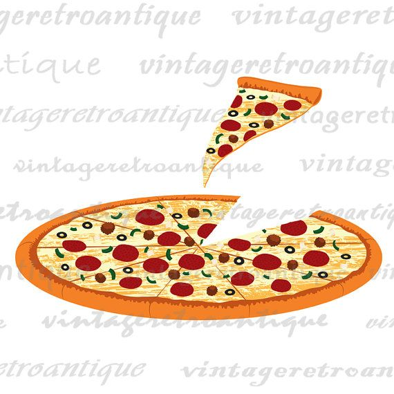 pizza with slice illustration printable pizza digital image artwork