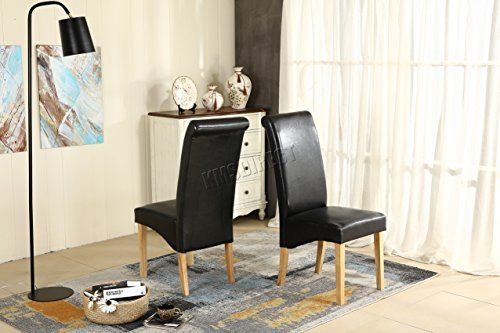 Swell Westwood Furniture Set Of 4 Premium Black Faux Leather Machost Co Dining Chair Design Ideas Machostcouk